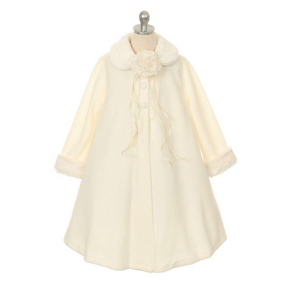 Kids Dream Ivory Fleece Faux Fur Collar Cuff Stylish Coat Girls 2-12