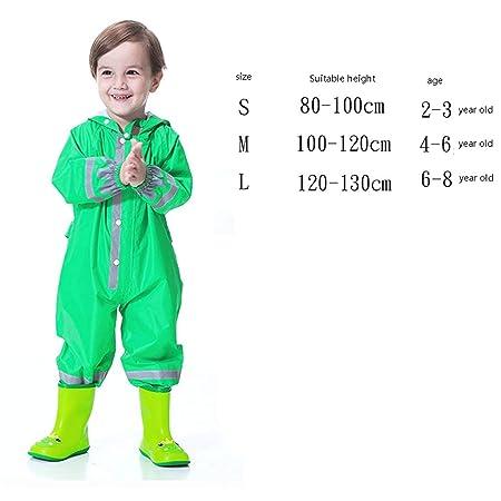 Abbigliamento verde impermeabile per bambini dai 2 ai 16