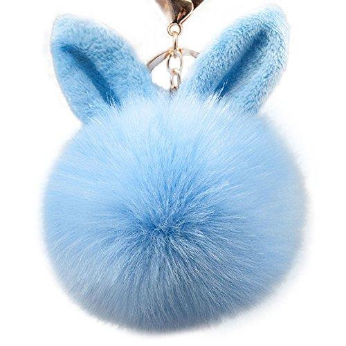 (Qingsun Cute Imitate Rabbit Fur Ball Bunny Ears Keychain Handbag Key Ring Car Keychain-Light Blue)