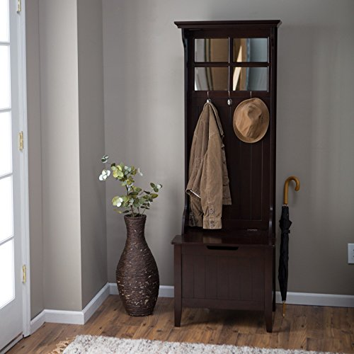 - Elegant Mini Hall Tree in Espresso Finish with Built-in Storage Bench, Birch Veneer Panels and Solid Wood Frame, Beadboard Paneling Details, 3 Double Hooks, Paned Mirror Top + Expert Home Guide