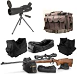 Ultimate Arms Gear 20-60x60 Stealth Black Rubber Armored Sniper Spotter Hunting Spotting Scope + 9'' Tripod + Sunshade + Front & Rear 3 Piece Shooting Steady Shooter Support Bag Range Set + Range Bag