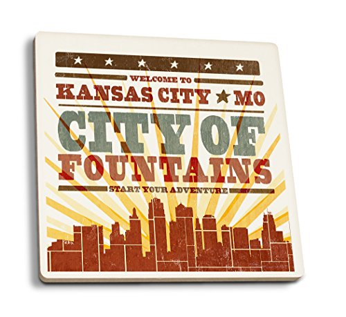 - Lantern Press Kansas City, Missouri - Skyline and Sunburst Screenprint Style (Set of 4 Ceramic Coasters - Cork-Backed, Absorbent)