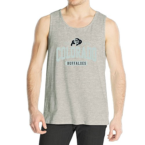 Men's University Of Colorado Boulder UCB Colorado Buffaloes Logo Tank Top Ash