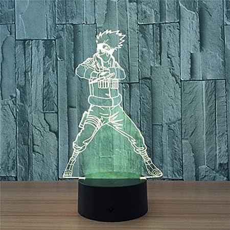 Amazon.com: Luz nocturna 3D Naruto Kakashi 3D ilusión visual ...