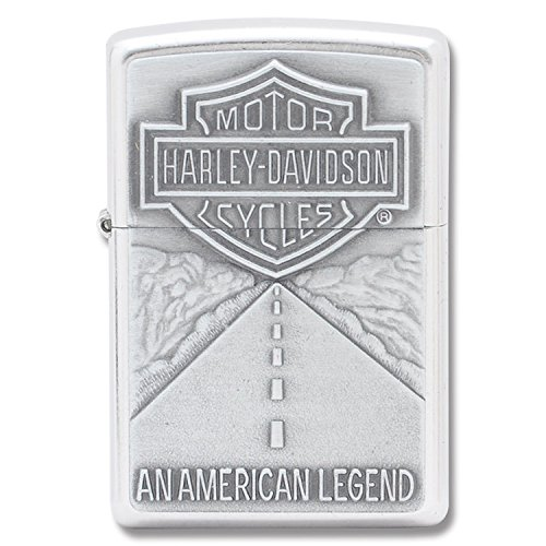 Zippo Harley Davidson Shield and American Legend Emblem Street Chrome Pocket Lighter (Mountain Rocky Zippo)
