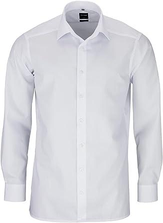 Olymp Luxor Modern Fit - Camisa de corte moderno italiano, cuello Kent, color blanco