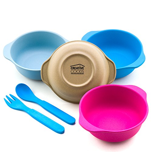 Creative Goods Bamboo Kids Bowls, Set of 4 Bamboo Dishes, Non Toxic, Spoon and Fork Included, Great Gift for Baby, Eco Friendly Toddler Bowls