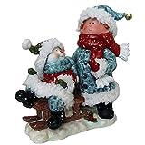Snowman Sledding LED Light Figurine Holiday Decor Polyresin 12'' inch