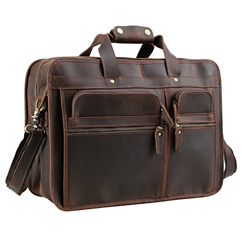 Texbo Men's Solid Full Grain Cowhide Leather Large 17 Inch Laptop Briefcase Messenger Bag Tote (Cowhide Leather Briefs)