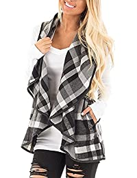 Womens Plaid Open Front Vest Cardigan Sweaters Sleeveless Lapel with Pockets Asymetric Hem