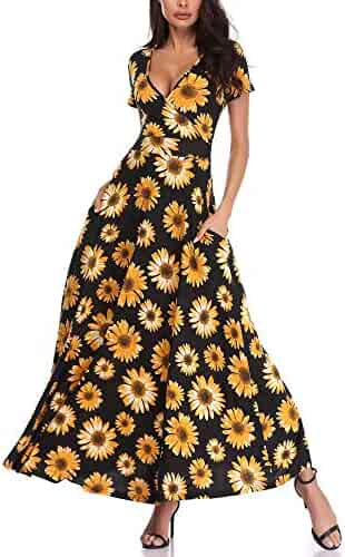 ad2ef0c4270b HUHOT Women Floral Short Sleeves V Neck A Line Unique Cross Wrap Summer  Maxi Dresses with