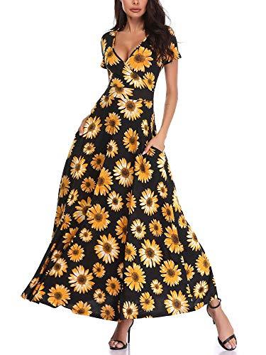 HUHOT Black Short Sleeves Floral V Neck A Line Unique Cross Wrap Summer Sunflower Long Dresses 19020-4 Large