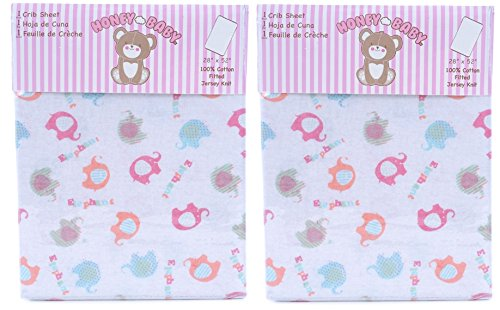 Honey Baby Pink Elephant Toddler Bed or Crib Sheets 2-Pack