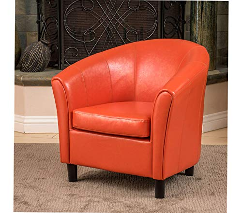 Premium Napoli Bonded Leather Club Chair, Orange