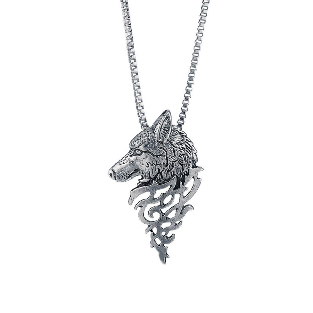 Alloy Pendant Necklace Gift Wolf Head Shape Fashion Jewelry Besooly (Silver)