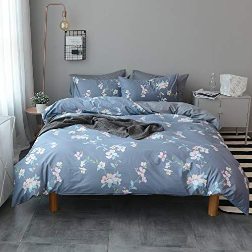 Rosa Duvet Cover - Haru Homie 3-Piece 100% Cotton Duvet Cover, Rosa Multiflora Floral Reversible Bedding Set for Kids Teens Adults - Soft, Breathable and Lightweight(Queen)