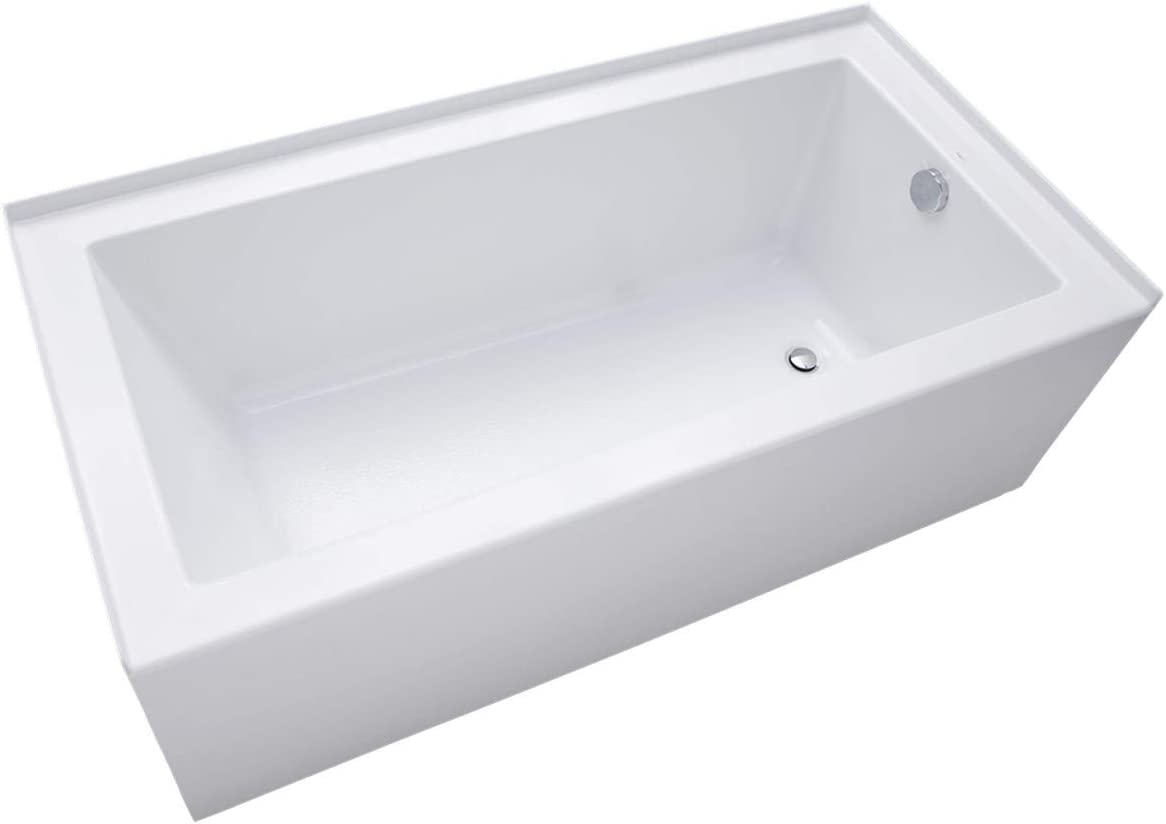 Mirabelle MIRSKS6032RWH Sitka 60 X 32 Acrylic Soaking Bathtub for Three Wall Alcove Installations with Right Drain