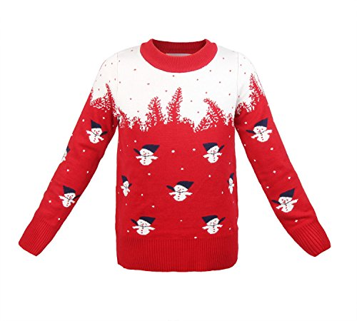 ReliBeauty Kids Snowman Christmas Pullover Sweater (2T, (Jewel Neck Ribbed Sweater)