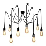 ONEVER E27 Loft Antique Chandelier Modern Chic Industrial Dining Light Ajustable DIY Ceiling Spider Light Pendant Lamp with 8 Light Heads Adapter No Bulb