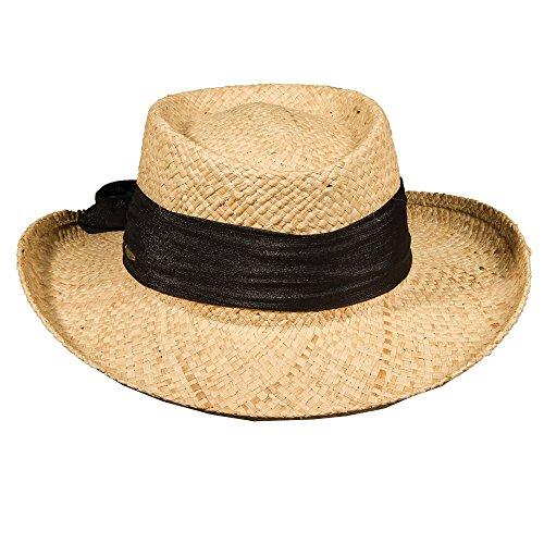 Scala Pro Organic Raffia Gambler Cotton Bow 3 inch Brim (LR546) (Black) ()