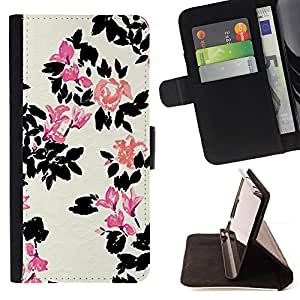 Jordan Colourful Shop - white flower pink minimalist For Apple Iphone 4 / 4S - Leather Case Absorci???¡¯???€????€?????????