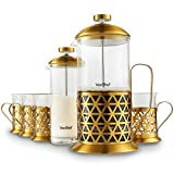 VonShef French Press Coffee Cafetiere Set with Milk Frother and 4 Serving Cups, Stainless Steel, Glass and Gold, 34 Fluid Ounces, 8 Cup Capacity For Sale