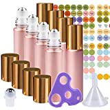 Rose Gold Ultimate Essential Oil Roller Bottles Set with Stainless Steel Balls, 8 Pack 10ml Leakproof Glass Bottle with…