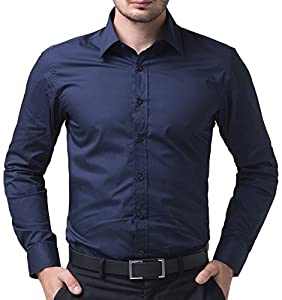 Classic Men's Dress Shirts Long Sleeves Button Down Plain Slim Fit Tops