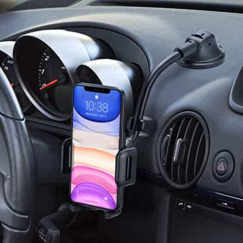 Mpow Car Phone Mount, Dashboard Windshield Car Phone Holder with Long Arm, Strong Sticky Gel Suction Cup, Anti-Shake Stabilizer Compatible iPhone 11 Pro/Max/XS/XR/X/8/7, Galaxy, Moto and More