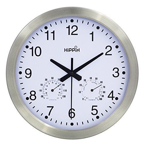 Hippih 10 Inch Silent Non-ticking Wall Clock- Metal Frame Glass Cover