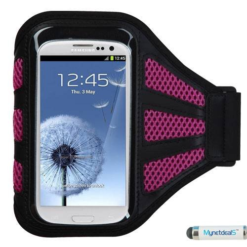 Premium Sport Armband Case for HTC Desire 310/ Desire 601/ One X+/ Windows Phone 8X/ One SV - Black (with Hot Pink Mess Ports) + MYNETDEALS Mini Touch Screen Stylus ()