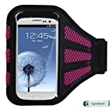 Premium Sport Armband Case for LG G4, C40 (Leon)/H320, LS885 (G3 Vigor), G3, VS450PP (Optimus Exceed 2), VS876 (Lucid 3), D415 (Optimus L90), LS740 (Volt), MS323 (Optimus L70), D820 (Nexus 5), MS500 (Optimus F6), VS980 (G2), D800 (G2) - Black (with Hot Pink Mess Ports) + MYNETDEALS Mini Touch Screen Stylus