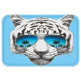 VROSELV Custom Door MatAnimal Hand Drawn Portrait Tiger with Mirror SunglassePalm TreeReflection Grey Sky Blue Dark Blue