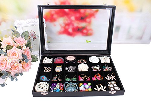 Jewelry Box Earring Display Case (Wuligirl Removable 24 Grid Jewelry Boxes Stackers Jewelry Display Case Clear Top New Black Velvet with Lock (24 Grid Box Black))