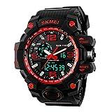SKMEI Men's SK1155D Multifunctional Outdoor Sports Dual Time Analog Digital Wrist Watch Red