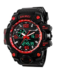 SKMEI Men's SK1155D Multifunctional Outdoor Sports Dual Time Analog Digital Wrist Watch Red