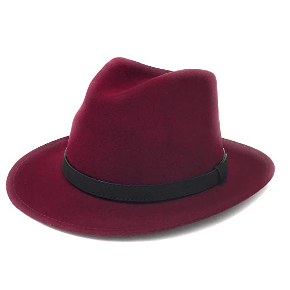 Cotswold Country Hats Wine Fedora Hat with Leather Band  Amazon.co.uk   Clothing 7cf6a8bbb7f