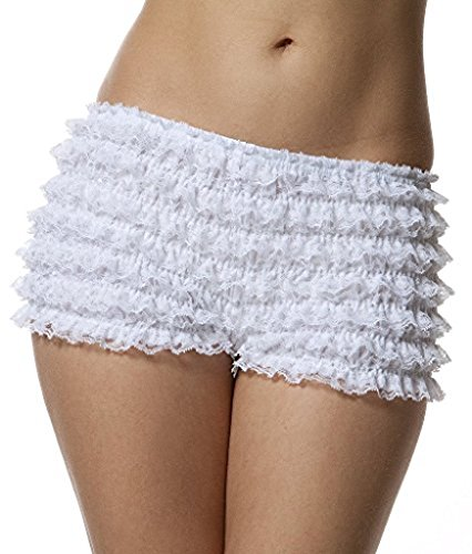 BellaSous Womens Sexy Ruffle Panties Tanga Dance Bloomers Sissy Booty Shorts (White, Small) ()