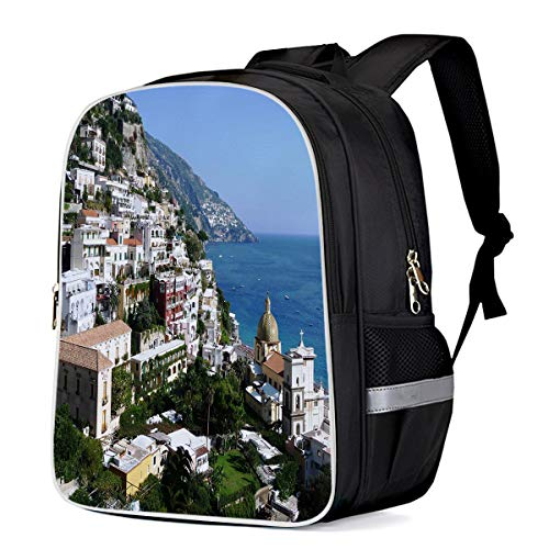 Unisex Durable School Backpack- Positano Capri Seaside Town, Lightweight Oxford Fabric School Bags with Reflective Strip Daypack Laptop Bags