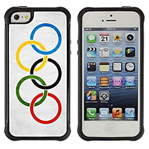 iDesign Rugged Armor Slim Protection Case Cover - Olympic Grunge Flag - Apple Iphone 5 / 5S