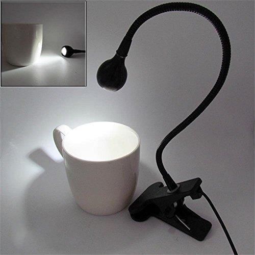 1pc Flexible Portable Clip-on Book USB LED Light Bed Table Desk Reading Lamp (Black-white light)