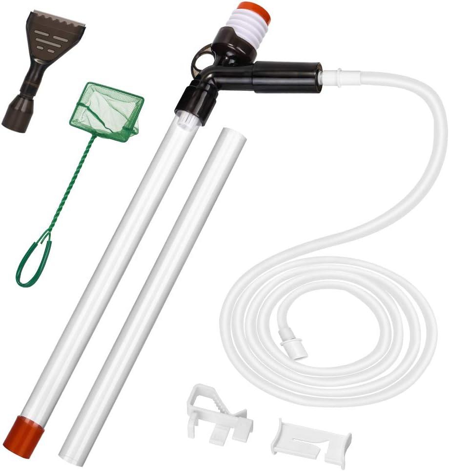 SlowTon Limpiador de grava para acuarion, kit de aspiradora para tanque de peces con 2 tubos extensibles, raspador de vidrio, abrazadera de control de flujo de agua, red de pesca, para cambiar
