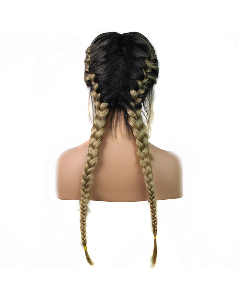 Blonde Braided Wigs with Baby Hair Heat Resistant Synthetic Lace Front Wigs for Women Girls Dark Roots Ombre Blonde Two Tone Natural 2x Twist Double Braids Long Hair Glueless Synthetic Wig 24inches Yinuozhogntian