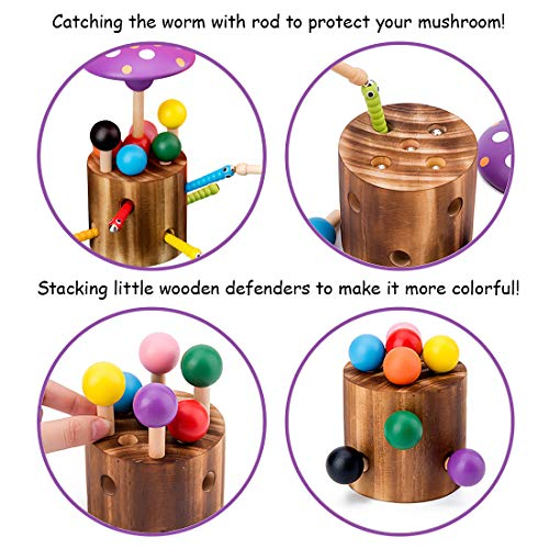 NVioToys Wooden Fishing Game Toy for Toddlers, Early Development Toys for Kids, Mushroom-Shape Balance Game for Boys Girls, Pretend Play Couting and Sorting Game with Magnet Rod