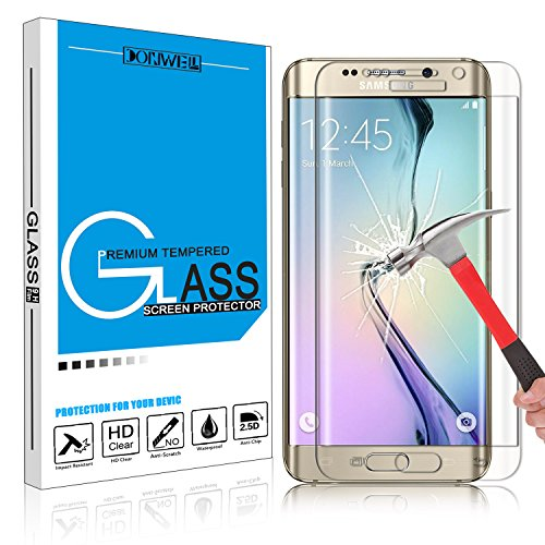 Samsung Galaxy S6 Edge Plus Screen Protector, DONWELL Full Screen Coverage Tempered Glass Screen Protector for S6 Edge+/SM-G928 [3D Curved] [Edge to Edge] [HD Clear] [Bubble Free] [1 PACK CLEAR]