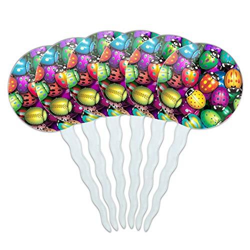 (Graphics and More Ladybug Lady Bug Rainbow Cupcake Picks Toppers Decoration Set of 6)