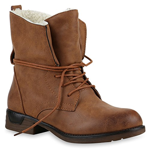 Stiefelparadies Damen Schnürstiefeletten Gefütterte Stiefel Leder-Optik  Stiefeletten Animal Print Velours Boots Blockabsatz Schuhe Flandell beaf8786d6