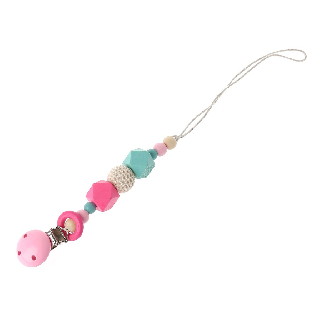 Cartoon wooden pacifier chain holder clip baby feeding teether pacifiers clip