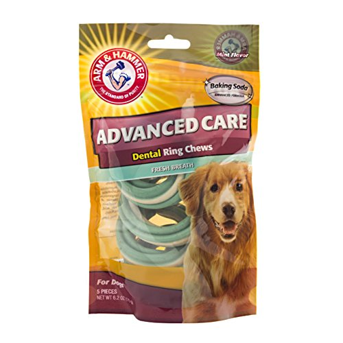 Arm & Hammer Dog Dental Care Tartar Control Dental Twisted Ring Chews for Dogs | Reduces Plaque & Tartar Buildup Without Brushing, 6.2 Ounces (5 Pcs), Mint Flavor