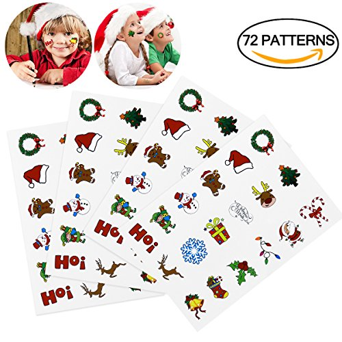Tinksky Christmas Holiday Cartoon Temporary Tattoo Stickers Sheets Christmas Birthday Gift for Children Kids 72PCS (Gifts Children Christmas)